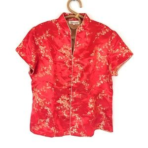 Chinese Red Silk Cheongsam Short Sleeve Blouse XXL